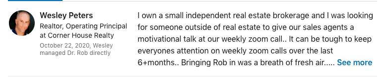 dr rob bell testimonial